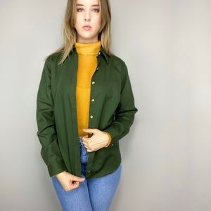 L.L. Bean green button up blouse